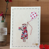 Girl in a Liberty dress hand embroidered card