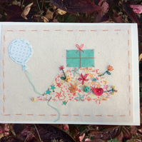 Harriet the hedgehog hand-stitched card