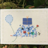 Harry the hedgehog hand embroidered card