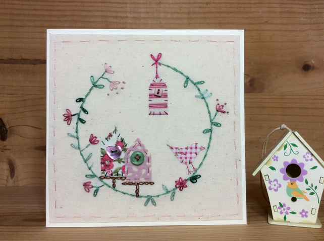 Little red bird house hand stitched card