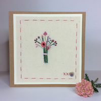 Little flower bouquet hand embroidered card