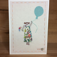 Girl in a flowery dress hand embroidered card
