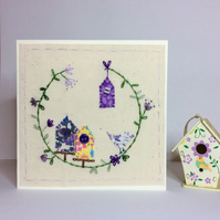 Little bird house hand stitched card