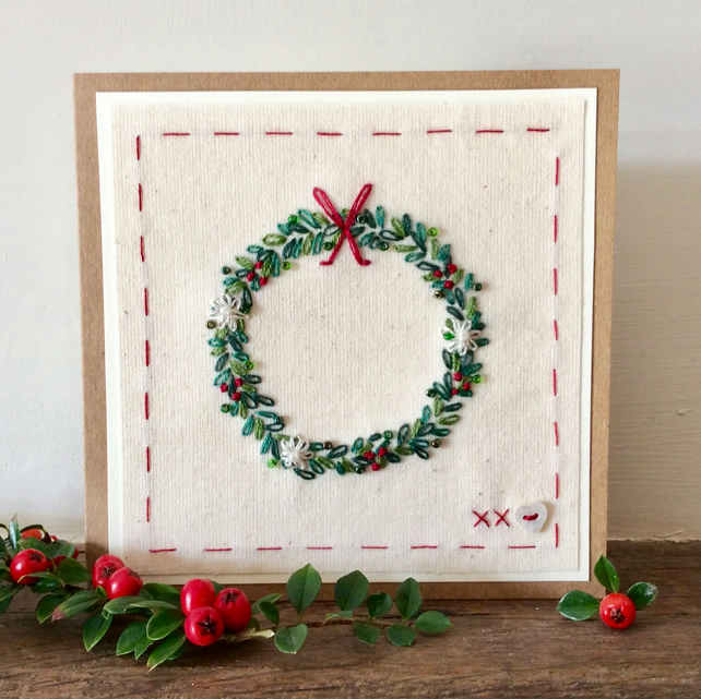 Christmas Wreath Hand embroidered card