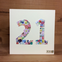 21st patchwork birthday card