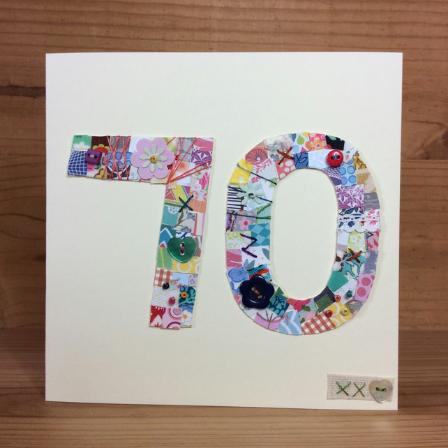 70th patchwork birthday card