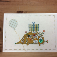 Humphrey the hedgehog hand embroidered card