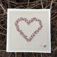 Sparkling gold and red Valentine heart hand-stitched card