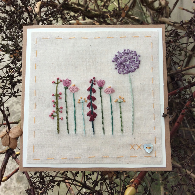 Cottage garden flowers hand embroidered card