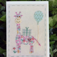 Gertie Giraffe hand embroidered card