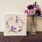 Little purple bird house hand embroidered card