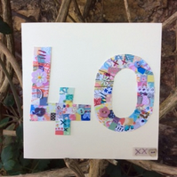 40th patchwork birthday card