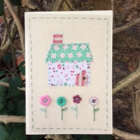 Little Hand Embroidered Cottage Card