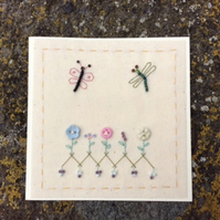 Flora buttons hand-stitched card