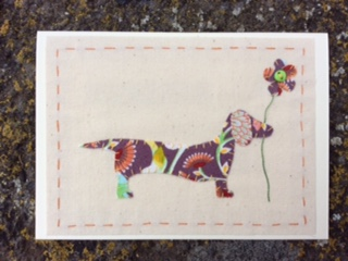 Dora Dachshund hand stitched fabric card
