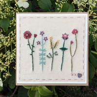 Five Little Flowers hand embroidered card
