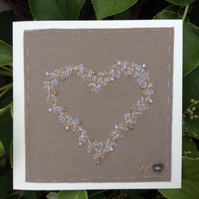 Hand stitched Gold and Ivory beaded heart card