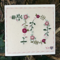 Floral hand embroidered 70th card