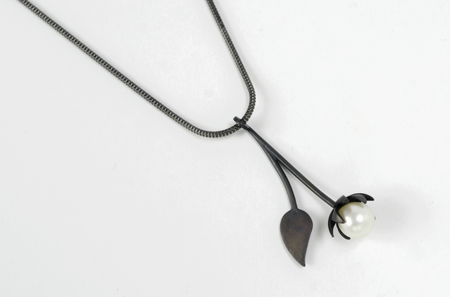 Contemporary lotus flower pendant - Oxidised eco-silver, white freshwater pearl
