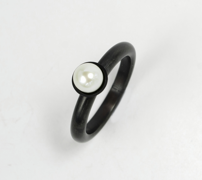 Chunky contemporary pearl ring - oxidised eco-silver, white freshwater pearl