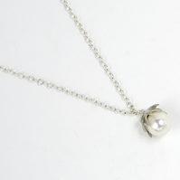Sterling silver flowering lotus pendant with large freshwater pearl on chain