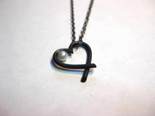 Contemporary heart necklace - oxidised eco-silver with white freshwater pearl