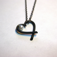 Oxidised sterling silver heart pendant with cultivated pearl