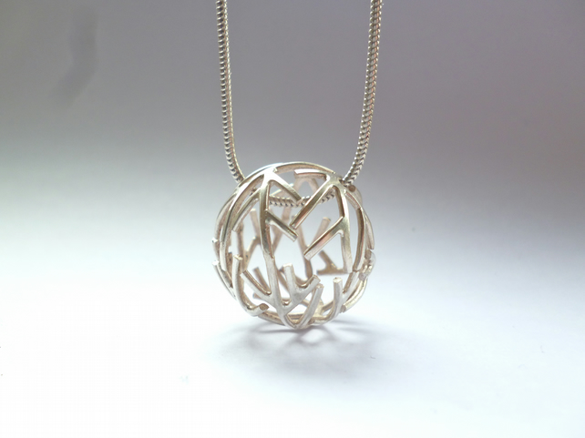 Sterling silver sphere branch pendant on snake chain