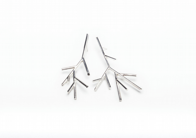 Contemporary branch earrings - large eco-silver asymmetrical  - ONE OFF.