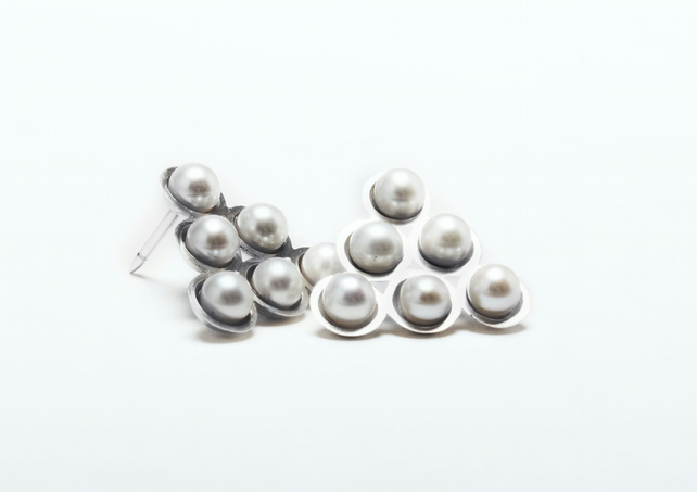 Contemporary geometric triangle brooch- eco-silver, white freshwater pearl.