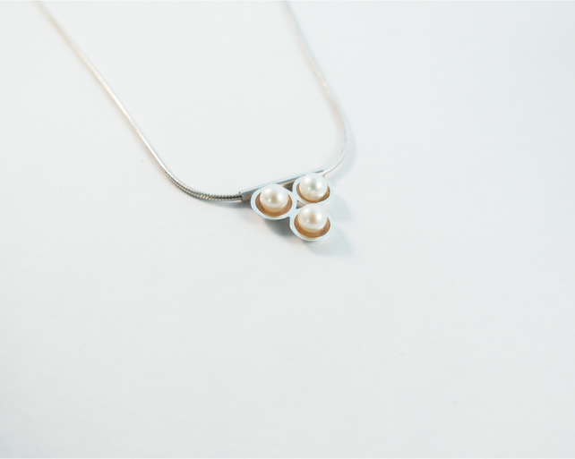Contemporary geometric triangle necklace, eco-silver and white freshwater pearl