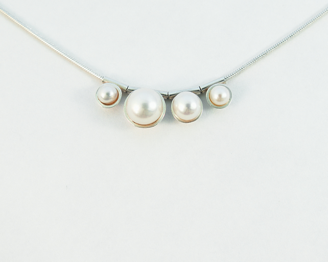 Contemporary bubble pearl necklace - eco-silver, white freshwater pearl beads