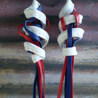 "Leather Earrings ..""Red, White and Blue Tassels"""