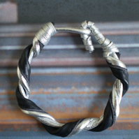 Leather Bracelet...in Silver and Black recycled leather... hook bracelet.