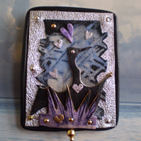 """ Dancing with Cormorants "" Brooch in recycled leather..."