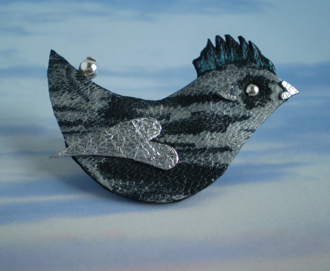 """ Cloud "" Bird Brooch in Recycle Leather."