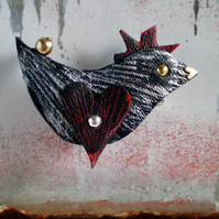 """ Spike "" Bird Brooch in recycled Leather"