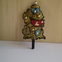 Tree Brooch... Joy...Decoration or Brooch in recycled leather
