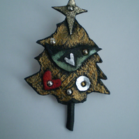 Starburst... Tree Brooch in recycled leather ..Brooch or Decoration.