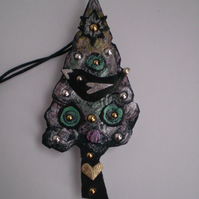 Noel.. Winter  tree in recycled leather....brooch or decoration.