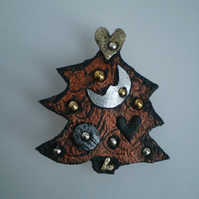 "Xmas Tree .."" Moon "" Brooch and Decoration made from recycled leather."