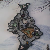 "Leather Brooch or Decoration .. "" The Lookout Tree "" in recycled leather."