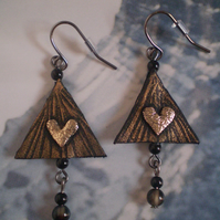 Leather Earrings...Autumn Trees in Recycled Leather