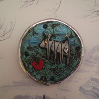 """Dog Brooch..."""" Solo """"  in recycled leather."""