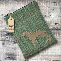 Whippet On Green Tweed Mini iPad Bag
