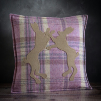 Tweed Boxing Hares Cushion