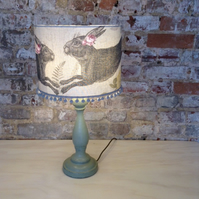 Grey Linen hare with Pom Poms