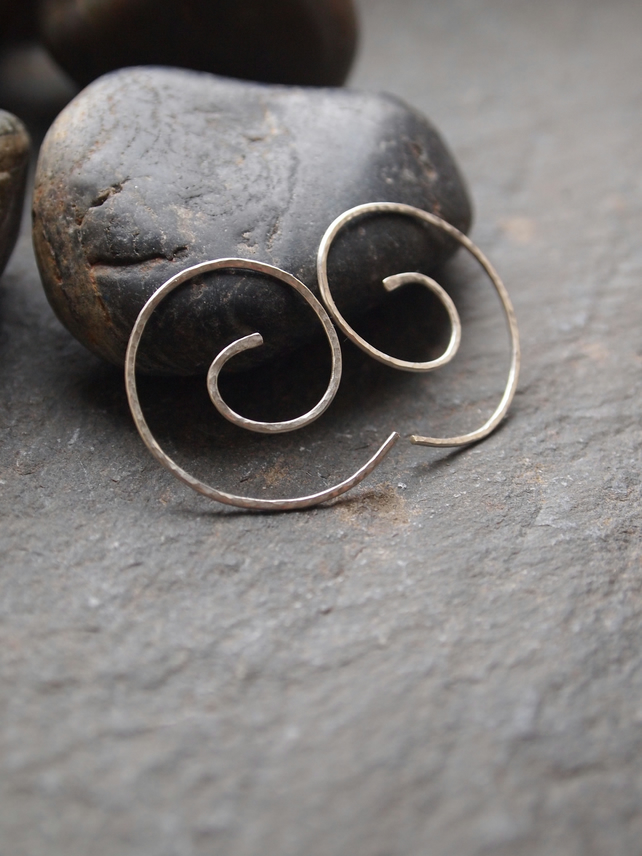 Sterling silver earrings, curls, spirals, hoops