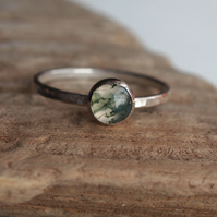 Green Moss Agate Sterling Silver Ring, handmade silver jewellery