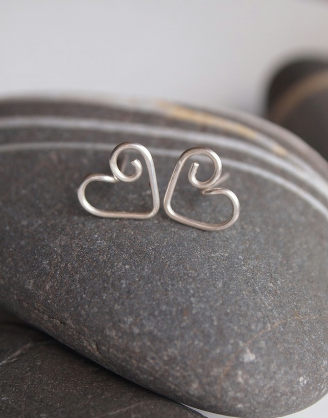 Silver Stud Earrings, Heart Stud Earrings